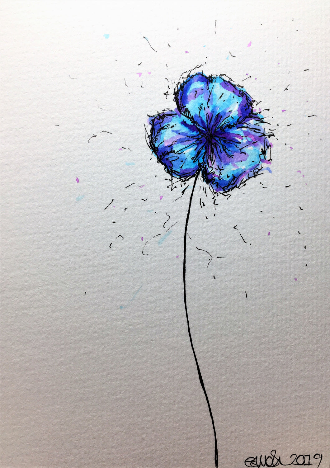 Hand-painted greeting card - Blue, turquoise and purple Pansy flower design - eDgE dEsiGn London