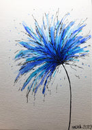 Hand-painted greeting card - Blue and Turquoise Spiky Flower Design