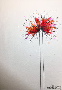 Hand-painted Greeting Card - Red, Orange and Purple Spiky Flowers Design - eDgE dEsiGn London