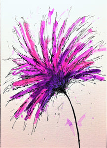 Hand-painted greeting card - Purple and Pink Spiky Flower Design - eDgE dEsiGn London