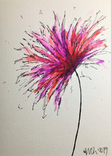 Handpainted Greeting Card - Abstract Pink, Purple, Red and Orange Flower - eDgE dEsiGn London