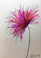 Handpainted Greeting Card - Abstract Pink, Purple, Red and Orange Flower