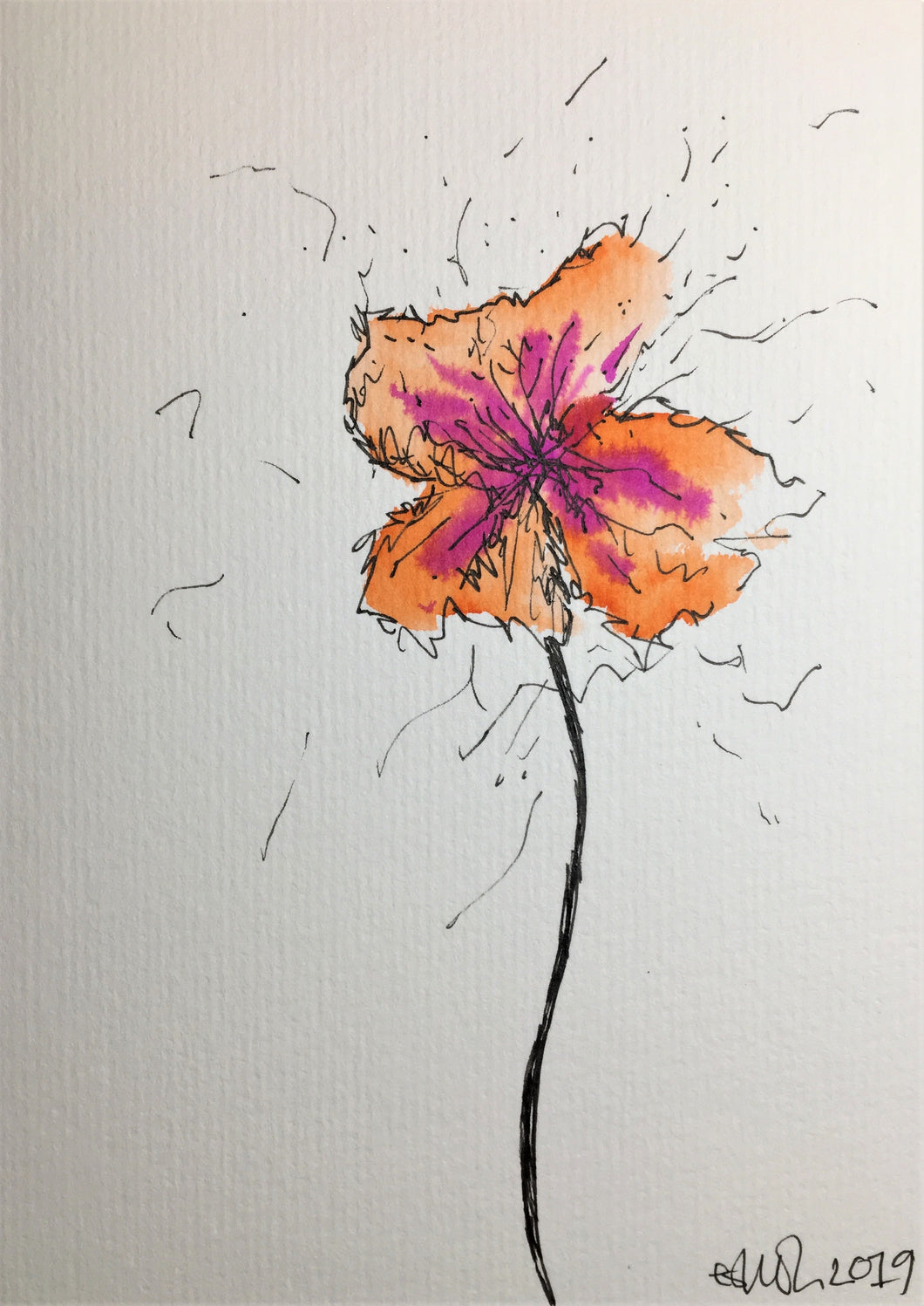 Handpainted Greeting Card - Orange and Pink Pansy - eDgE dEsiGn London