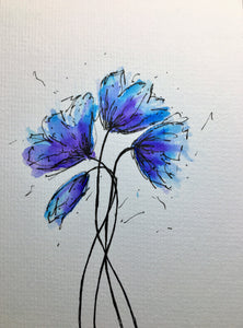 Handpainted Watercolour Greeting Card - Abstract Purple, Turquoise and Blue Poppies Design - eDgE dEsiGn London