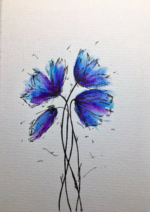 Handpainted Watercolour Greeting Card - Abstract Purple, Blue and Turquoise Poppies Design - eDgE dEsiGn London