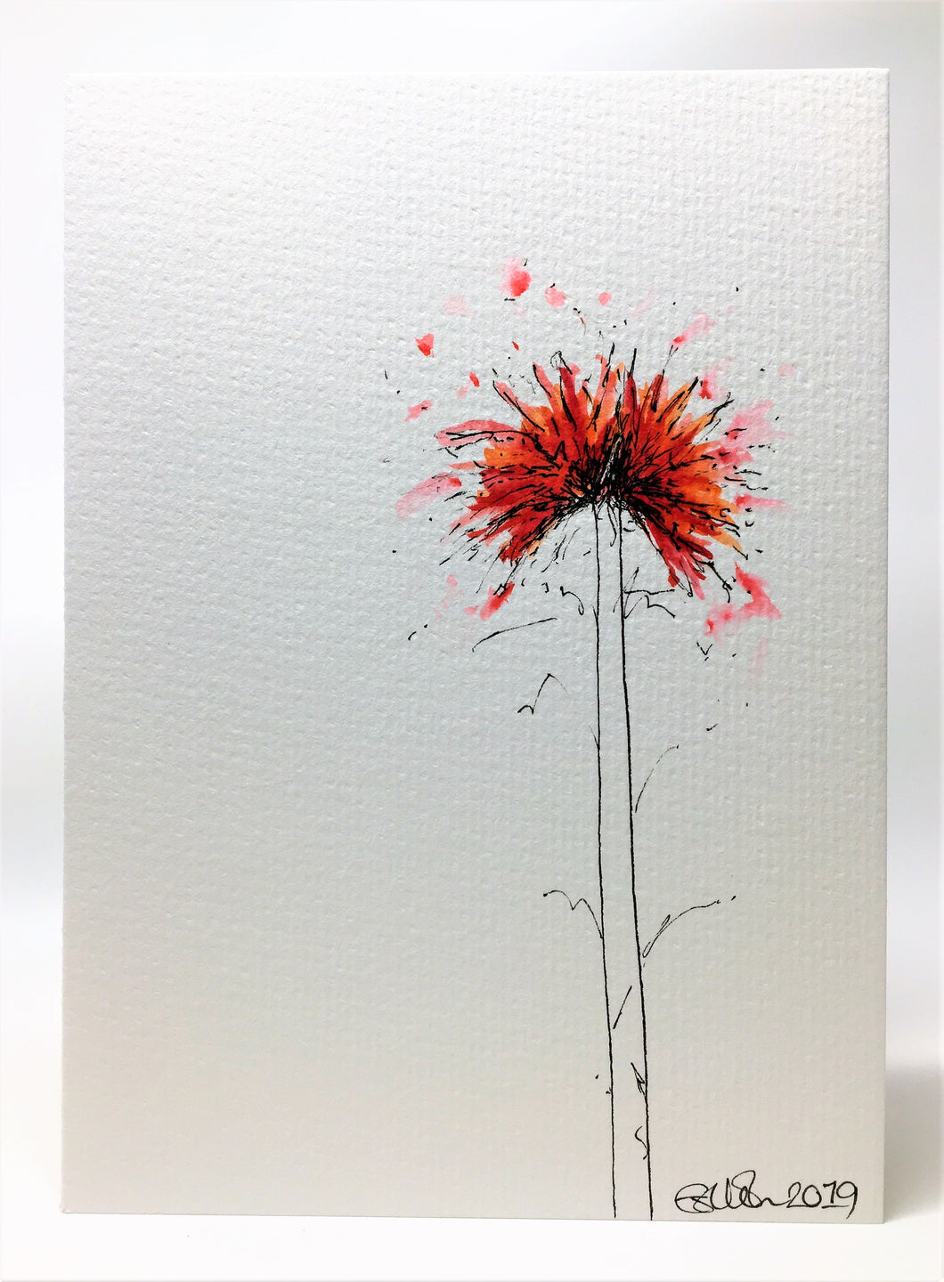 Handpainted Watercolour Greeting Card - Small Abstract Red, Orange and Pink Spiky Flowers - eDgE dEsiGn London