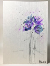 Handpainted Watercolour Greeting Card - Abstract Lilac, Blue and Silver Poppies Design - eDgE dEsiGn London