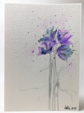 Handpainted Watercolour Greeting Card - Abstract Lilac, Blue and Silver Poppies Design