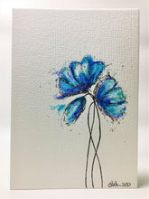 Original Hand Painted Greeting Card - Blue, Jade and Turquoise Poppies - eDgE dEsiGn London