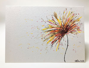 Original Hand Painted Greeting Card - Yellow, Red, Orange and Gold Flower - eDgE dEsiGn London