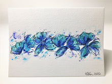 Original Hand Painted Greeting Card - Jade, Blue and Turquoise Poppies - eDgE dEsiGn London