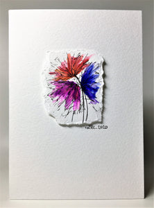 Original Hand Painted Greeting Card - Red, Purple and Blue Raised Flower Design - eDgE dEsiGn London
