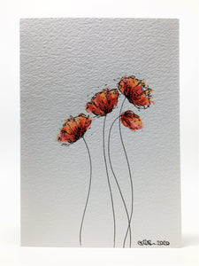 Original Hand Painted Greeting Card - Four Red and Orange Poppies Design - eDgE dEsiGn London