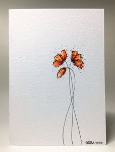 Original Hand Painted Greeting Card - Three Red and Orange Poppies Design - eDgE dEsiGn London