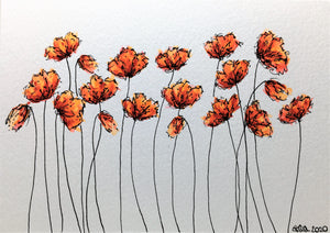 Original Hand Painted Greeting Card - 19 Red and Orange Poppies Design - eDgE dEsiGn London
