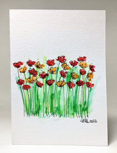 Original Hand Painted Greeting Card - Abstract Orange and Red Poppy Field - eDgE dEsiGn London