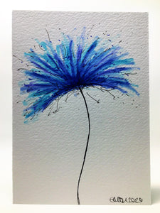 Original Hand Painted Greeting Card - Turquoise and Blue Spiky Flower - eDgE dEsiGn London