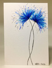 Original Hand Painted Greeting Card - Turquoise and Blue Spiky Flowers