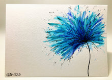 Original Hand Painted Greeting Card - Turquoise, Blue and Jade Spiky Flower - eDgE dEsiGn London