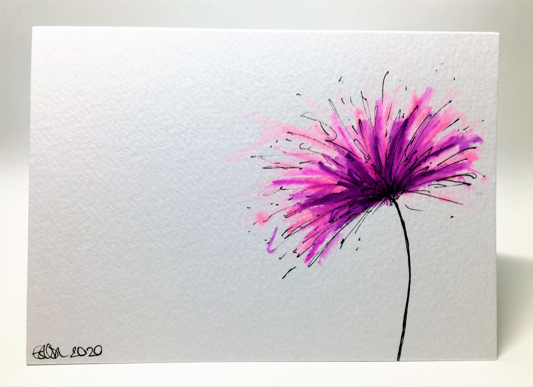 Original Hand Painted Greeting Card - Purple and Pink Spiky Flower - eDgE dEsiGn London