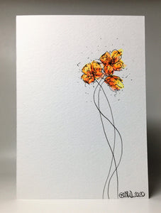 Original Hand Painted Greeting Card - Three Yellow and Orange Poppies Design