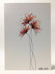 Original Hand Painted Greeting Card - Three Purple and Orange Spiky Flower Design