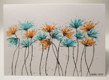 Original Hand Painted Greeting Card - Turquoise and Orange Spiky Flowers Design