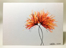 Original Hand Painted Greeting Card - Orange, Red and Pink Spiky Flower