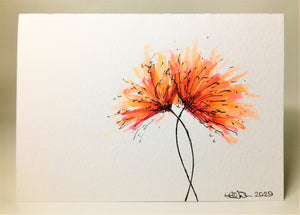 Original Hand Painted Greeting Card - Orange, Red and Pink Spiky Flower - eDgE dEsiGn London