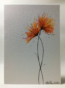 Original Hand Painted Greeting Card - Orange and Pink Spiky Flowers