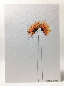 Original Hand Painted Greeting Card - Orange and Yellow Spiky Flowers