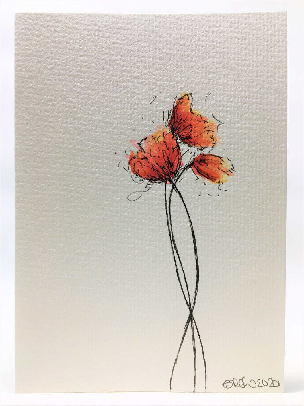 Original Hand Painted Greeting Card - Three Orange, Red and Yellow Poppies