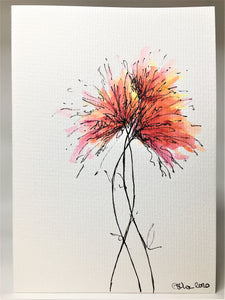 Original Hand Painted Greeting Card - Red, Pink and Yellow Spiky Flowers