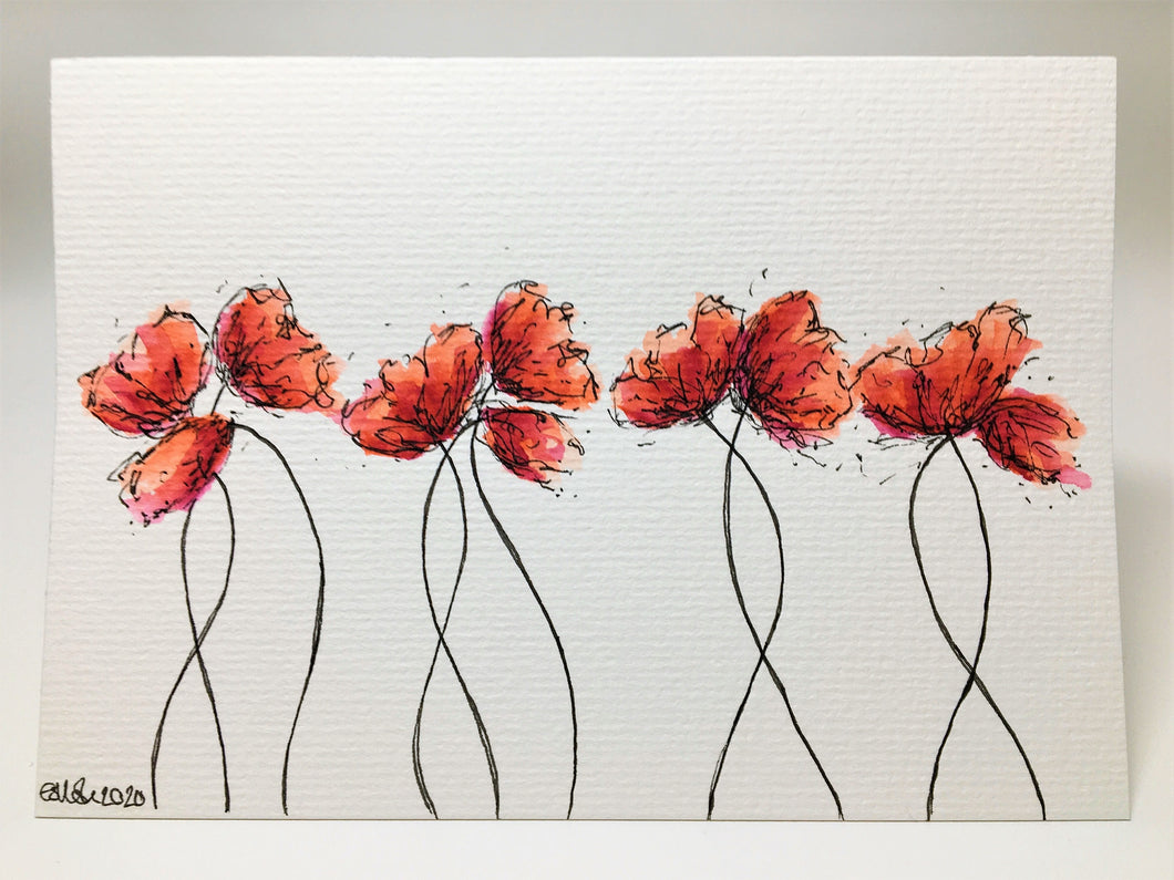 Original Hand Painted Greeting Card - 10 Red, Orange and Pink Poppies