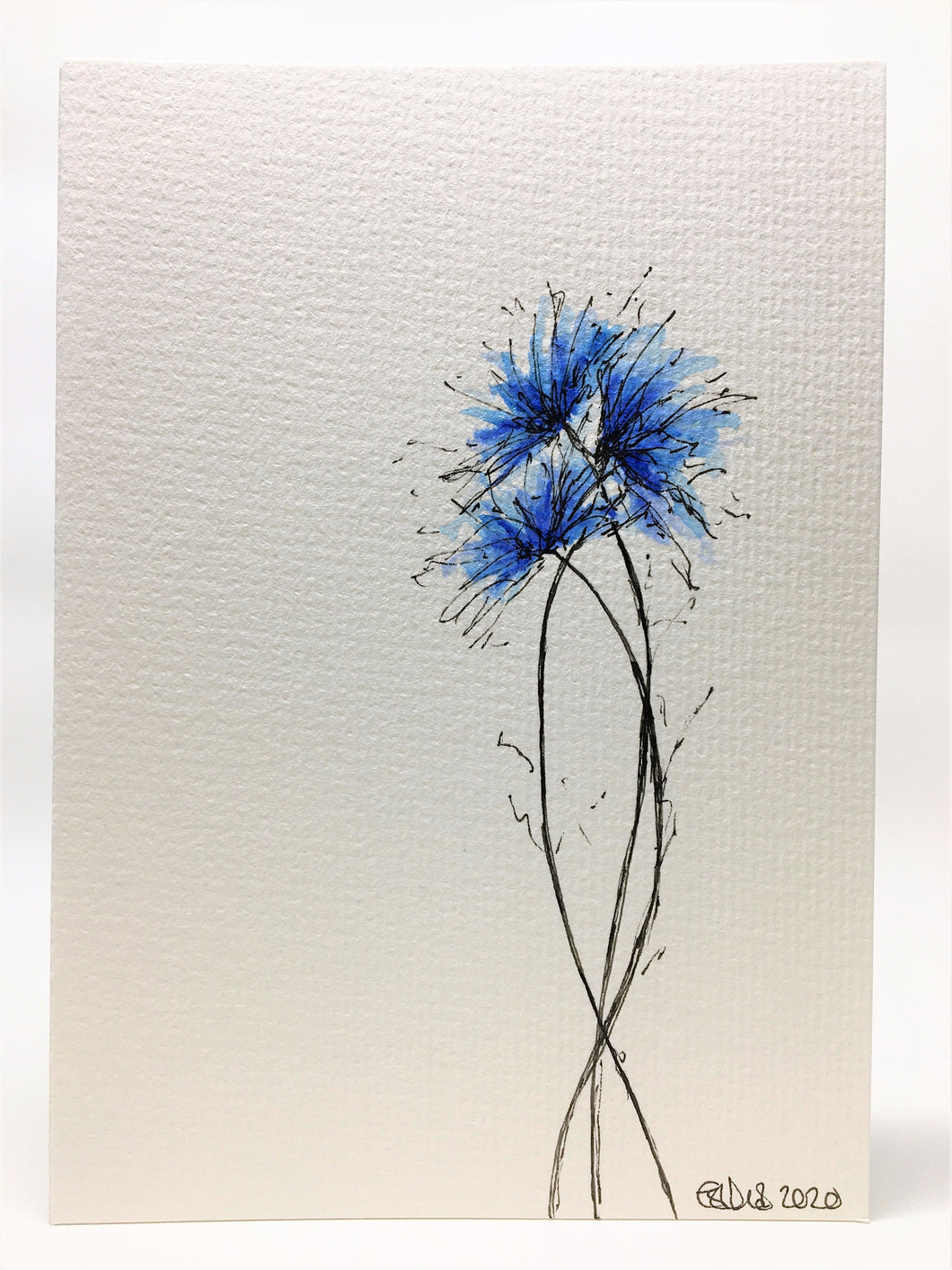 Original Hand Painted Greeting Card - Blue Spiky Flowers