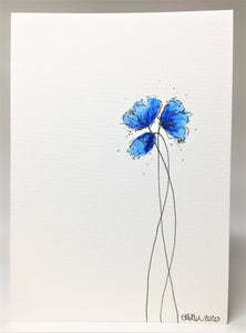 Original Hand Painted Greeting Card - Three Blue Poppies Design
