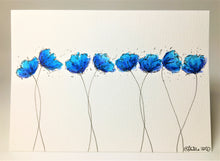 Original Hand Painted Greeting Card - 8 Turquoise, Blue and Purple Poppies