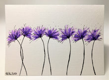 Original Hand Painted Greeting Card - 7 Lilac and Purple Spiky Flowers Landscape eDgE dEsiGn London