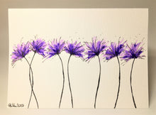Original Hand Painted Greeting Card - 7 Lilac and Purple Spiky Flowers