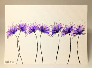 Original Hand Painted Greeting Card - 7 Lilac and Purple Spiky Flowers - eDgE dEsiGn London