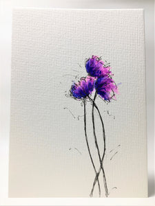 Original Hand Painted Greeting Card - Three Pink, Blue and Purple Poppies