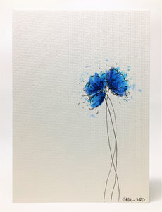 Original Hand Painted Greeting Card - Three Blue and Turquoise Poppies