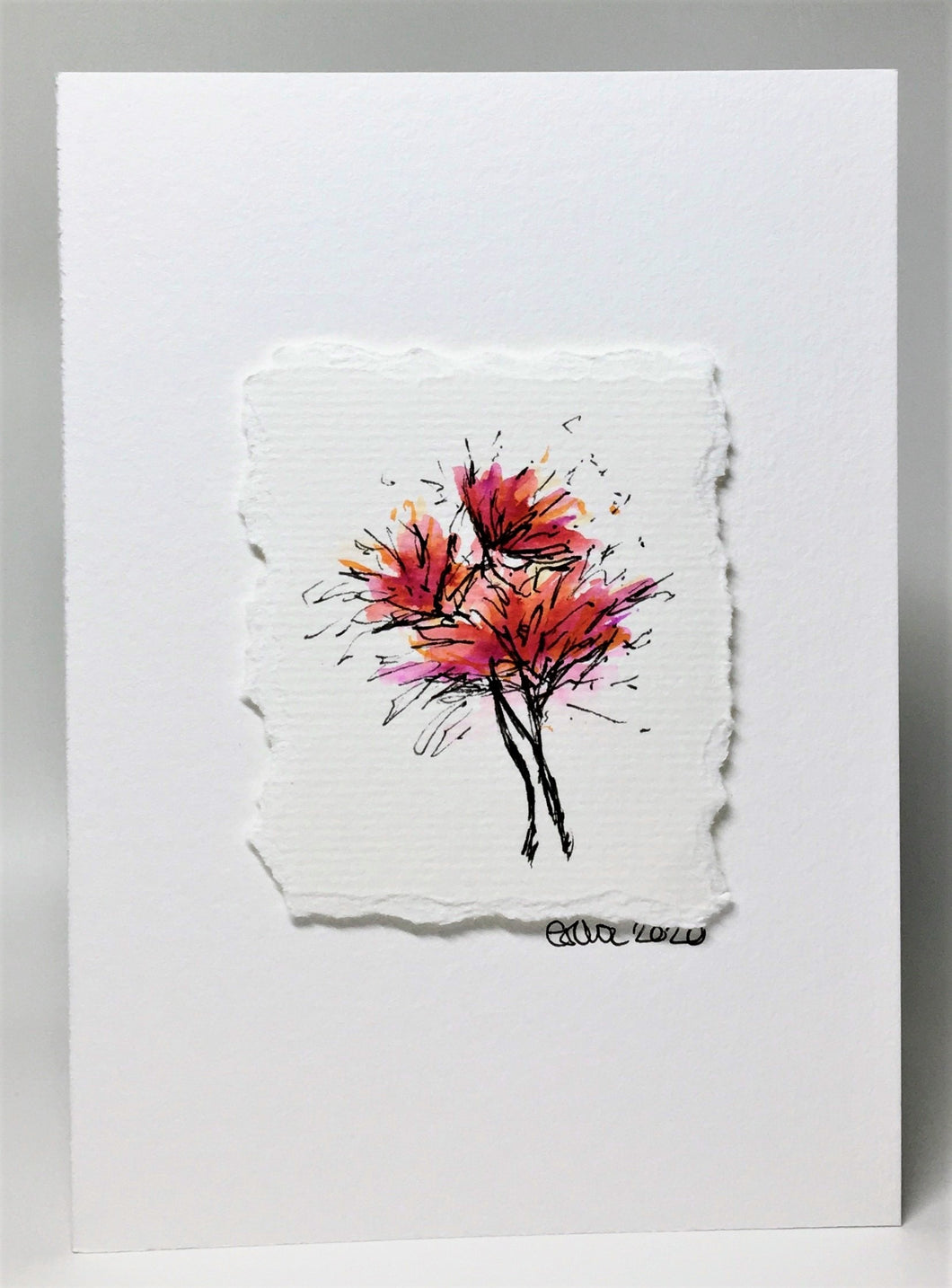 Original Hand Painted Greeting Card - Red, Orange and Pink Spiky Flowers
