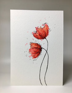 Hand-painted Watercolour Greeting Card - Two Large Abstract Red and Orange Poppies