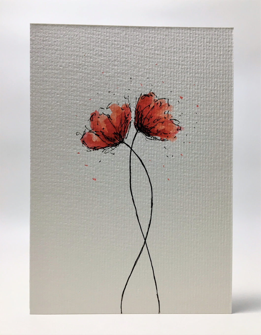 Original Hand Painted Greeting Card - Two Small Red and Orange Poppies