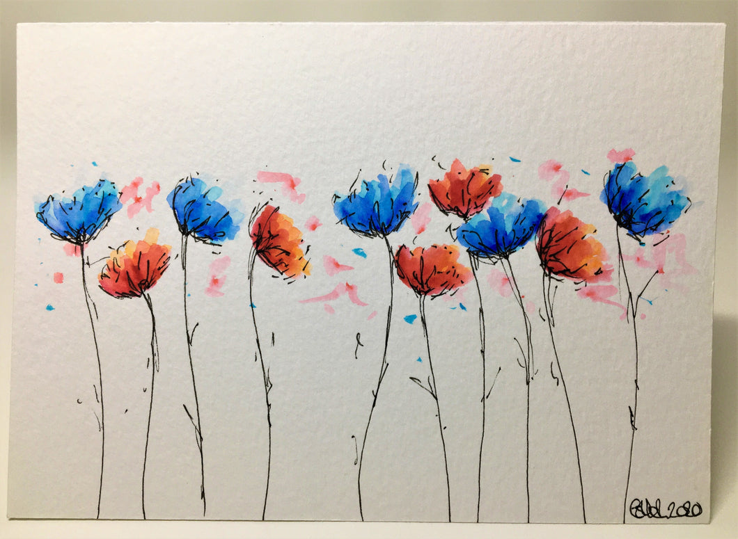 Original Hand Painted Greeting Card - 10 Blue and Red Flowers - eDgE dEsiGn London