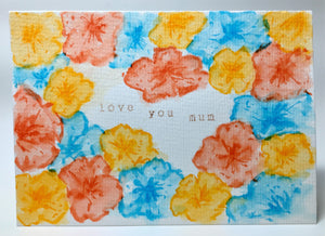 Original Hand Painted Mother's Day Card - Orange, Yellow and Turquoise Flowers