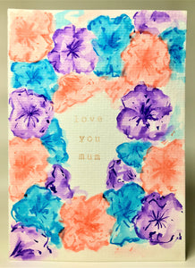 Original Hand Painted Mother's Day Card - Turquoise, Purple and Peach Flowers - eDgE dEsiGn London