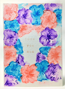 Original Hand Painted Mother's Day Card - Turquoise, Purple and Peach Flowers