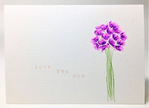 Original Hand Painted Mother's Day Card - Pink and Purple Bouquet